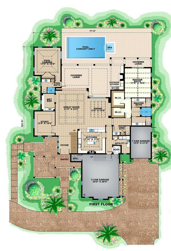 Plano planta baja mansion de cuatro dormitorios casas - Planos de casas de planta baja ...