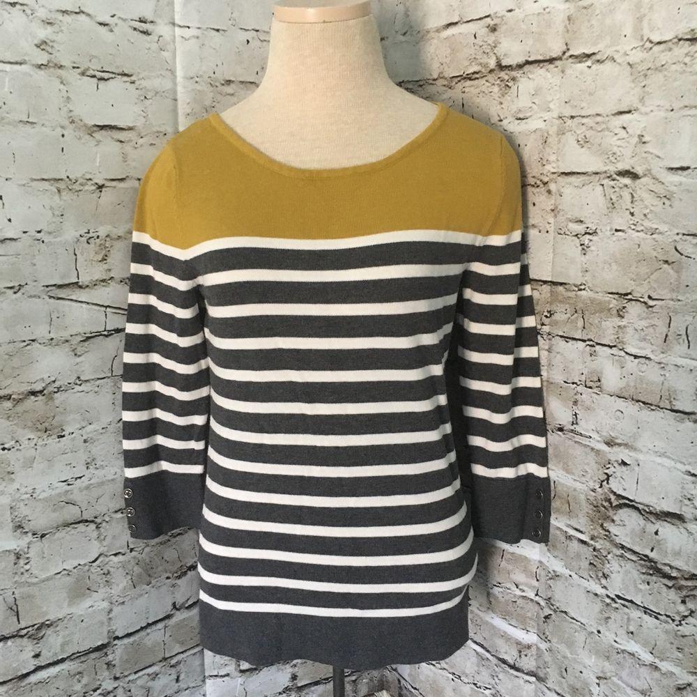 Banana Republic Sweater Womens Small Gray White Stripe 3/4 Sleeve ...