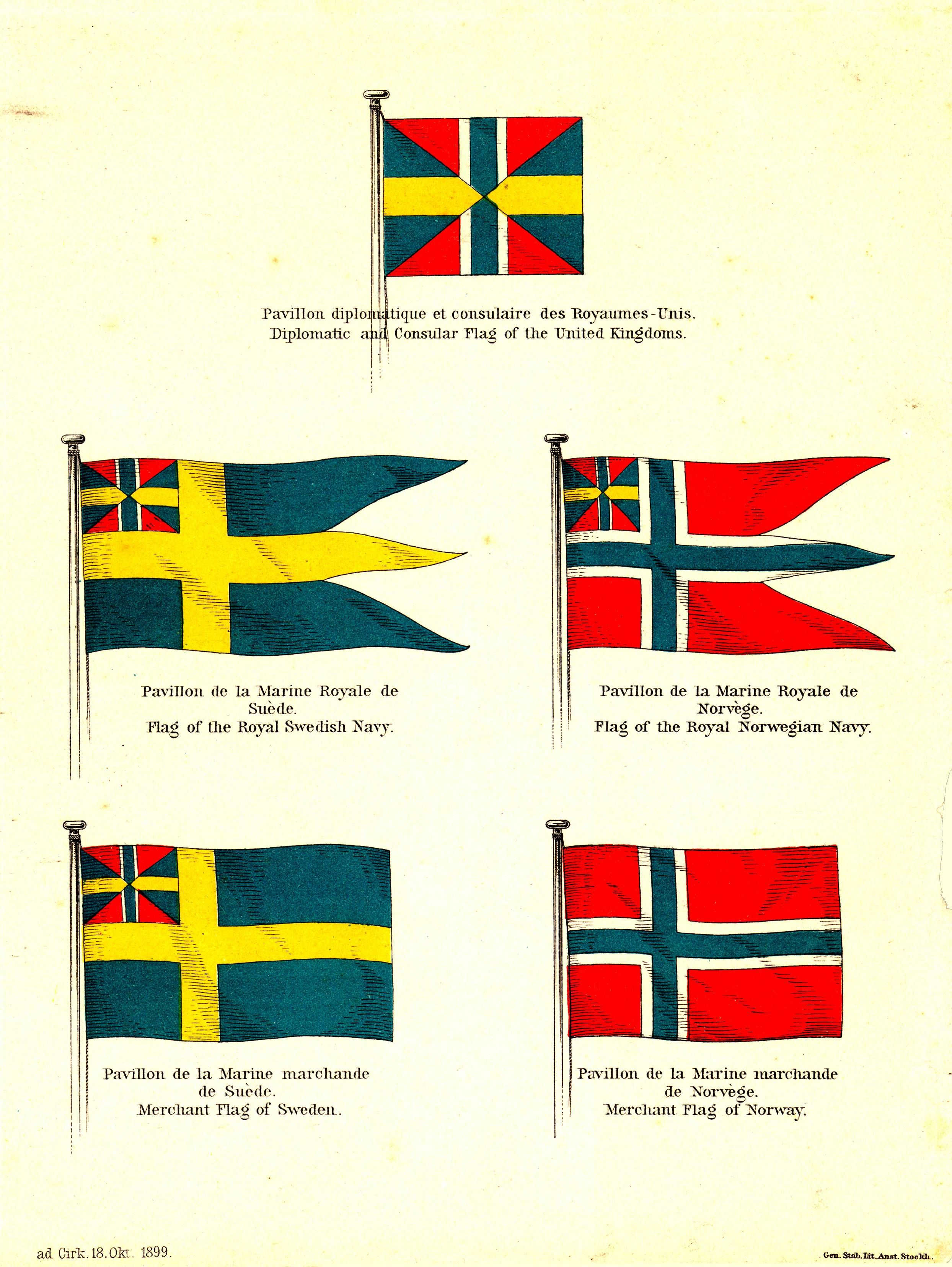 Flags Of The United Kingdoms Norway And Sweden Flag