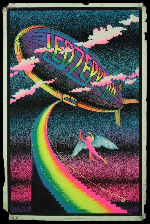 Led Zeppelin Vintage Velvet Black Light Poster Zeppelin Art Rock Band Posters Led Zeppelin Poster