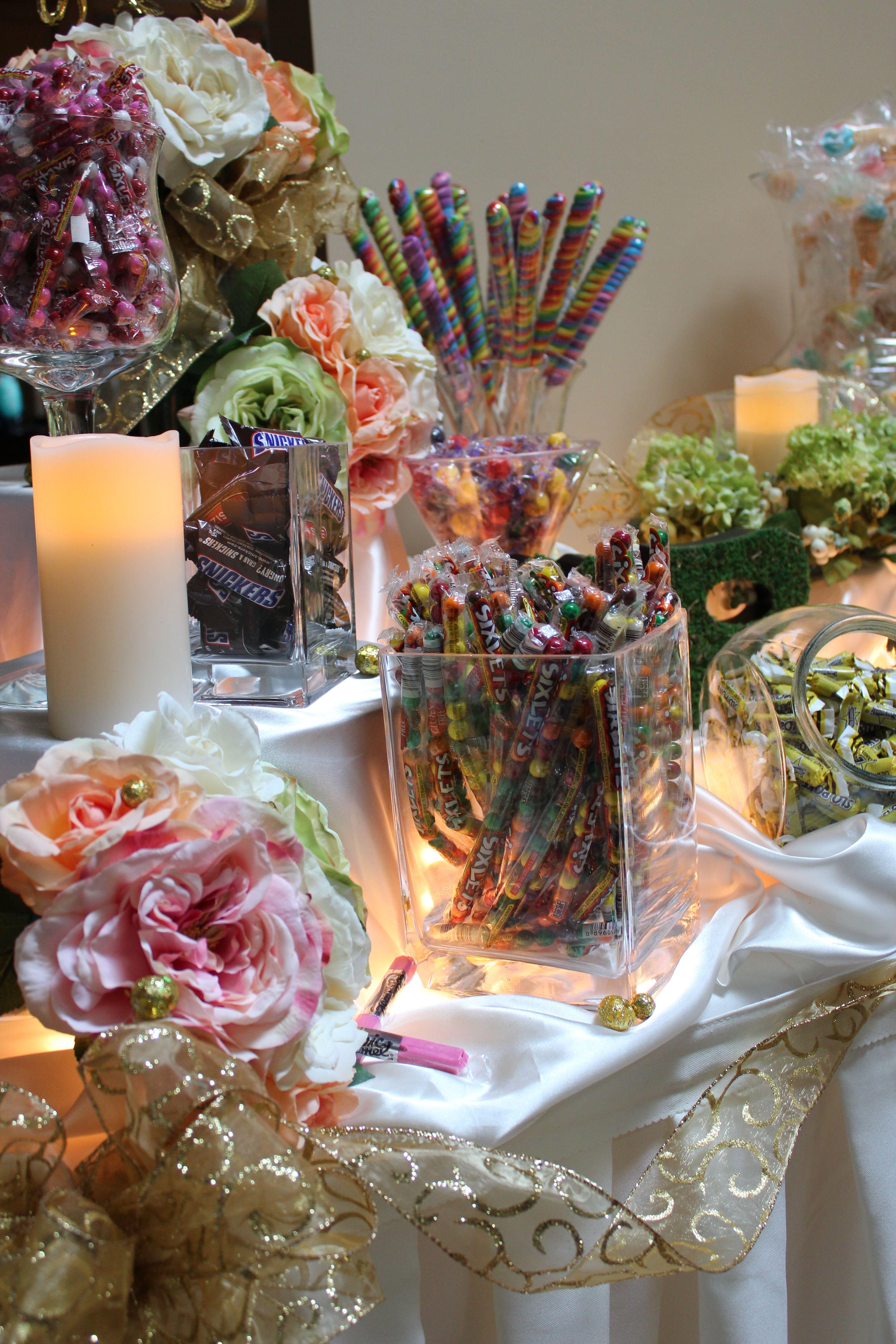 Choose your candy for this garden wedding candy buffet garden