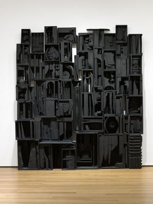 "‎""But when I fell in love with black, it contained all color. It wasn't a negation of color. It was an acceptance. Because black encompasses all colors. Black is the most aristocratic color of all.... You can be quiet and it contains the whole thing.""     Happy birthday to Louise Nevelson (1899-1988)!    [Louise Nevelson. Sky Cathedral. 1958.]"