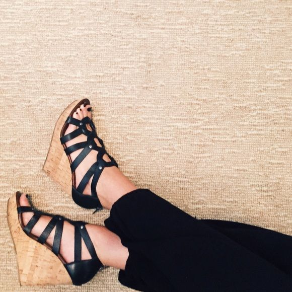 """DV Strappy Wedges Black strappy wedge sandals with cork wedge, 5"""" heel height and studded near toes. DV by Dolce Vita Shoes"""