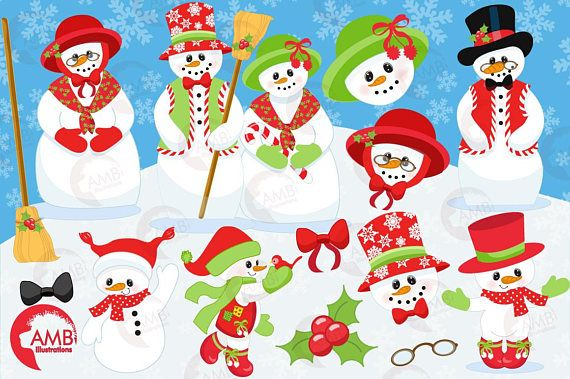 7 Holiday Christmas Snowmen In Top Hats And Other Cliparts Such As Candy Cane Ornaments All Ready For Snowman Family Clipart Pack