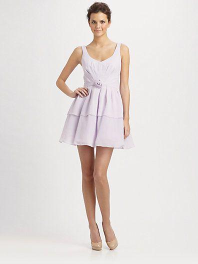 ABS - Rosette V-Neck Chiffon Dress/Lilac - Saks.com