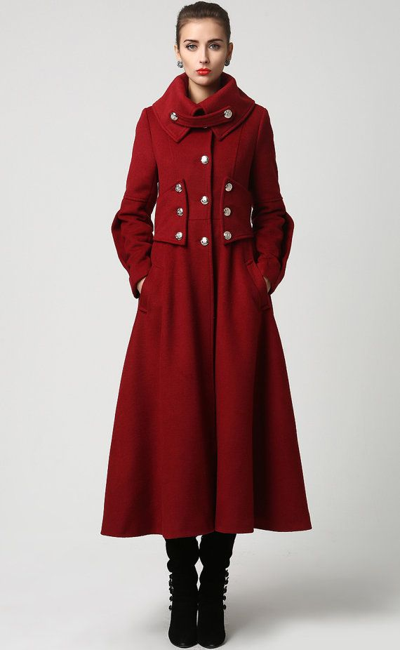 6a5b13ac28184 Womens Long Red Cashmere Military Style Coat Also by xiaolizi