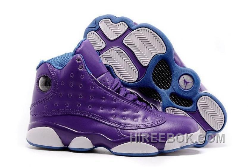 Girls Air Jordan 13 GS Hornets Purple Orion Blue Shoes