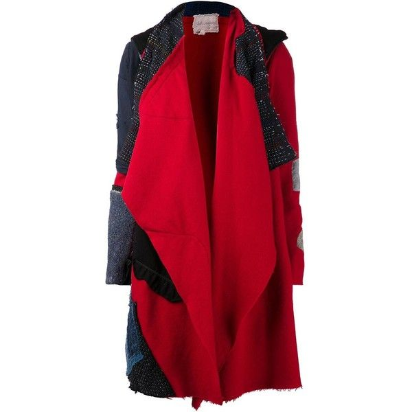 GREG LAUREN 'Nomad' coat (£2,626) found on Polyvore featuring outerwear, coats, long sleeve coat, shawl collar coat, greg lauren and red coat