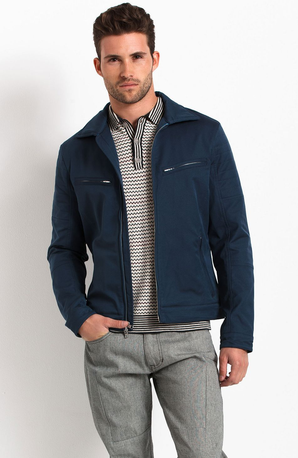 d526369b6d3f Zippered Moto Jacket - New Arrivals - Mens - Armani Exchange | Men's ...