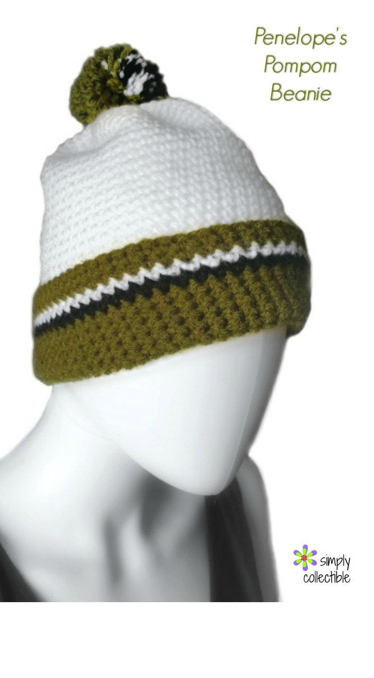 Crochet Hat Pattern - Pompom Beanie Hat Crochet Pattern - Simple ...