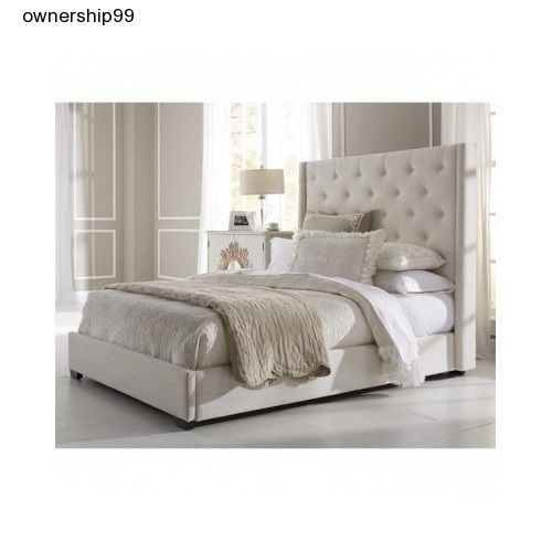 Upholstered Wingback Bed Headboard Button Tufted Queen Size Bedroom ...