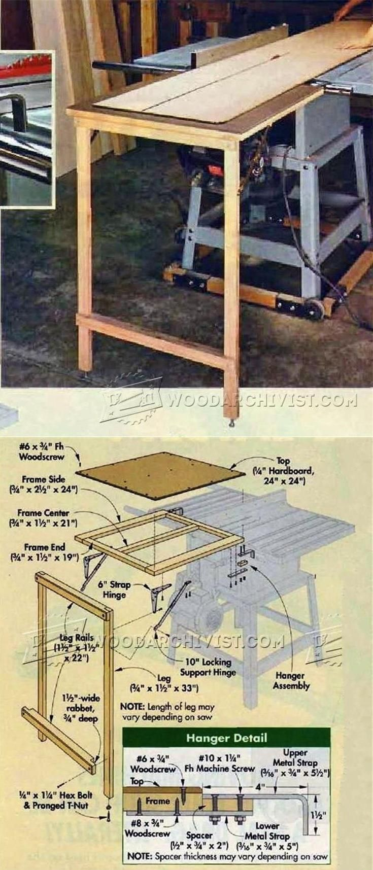 Table Saw Outfeed Table Plans Table Saw Tips Jigs And Fixtures Woodarchi Woodworking Shop Projects Outdoor Woodworking Plans Beginner Woodworking Projects