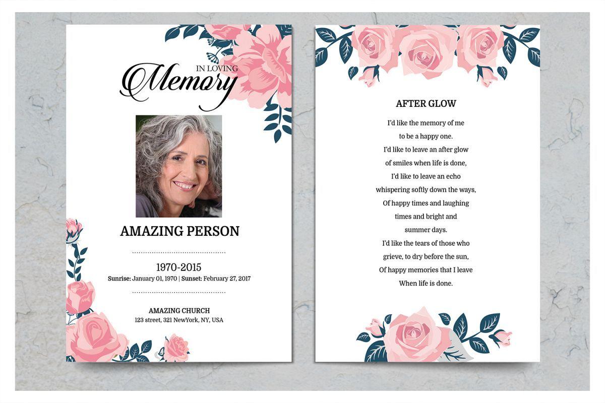 Pink Flower Funeral Prayer Card Template Throughout Prayer Card