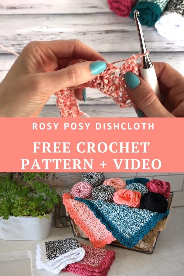 Photo of Free crochet pattern – Rosy Posy Dishcloth