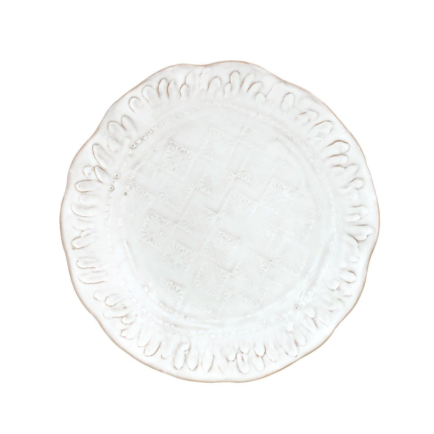 Ancient ornament rolls are used to create the intricate details on the front and back of each Bellezza White Salad Plate. Make your table one of vintage elegance.