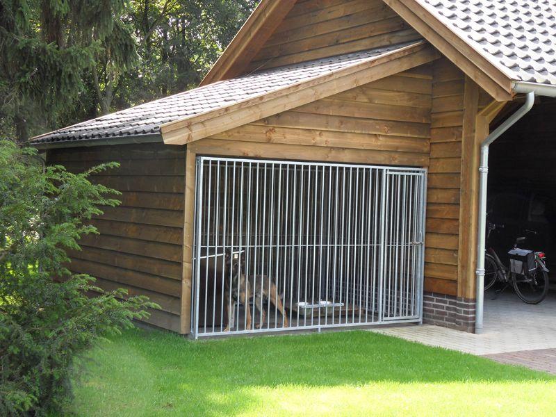 3 landelijke houten schuur met hondenkennel en dubbele for Carport dog kennels