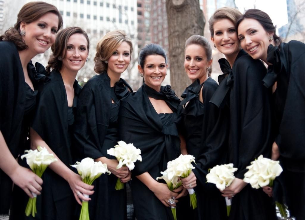 Black bridesmaid dresses for winter wedding