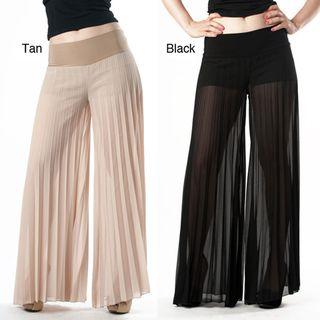 Tabeez Pantalones Anchos De Mujer Plisados Transparentes Overstock Com Shopping The Best Deals On Dr Womens Wide Leg Pants Fashion Pants Wide Leg Pants