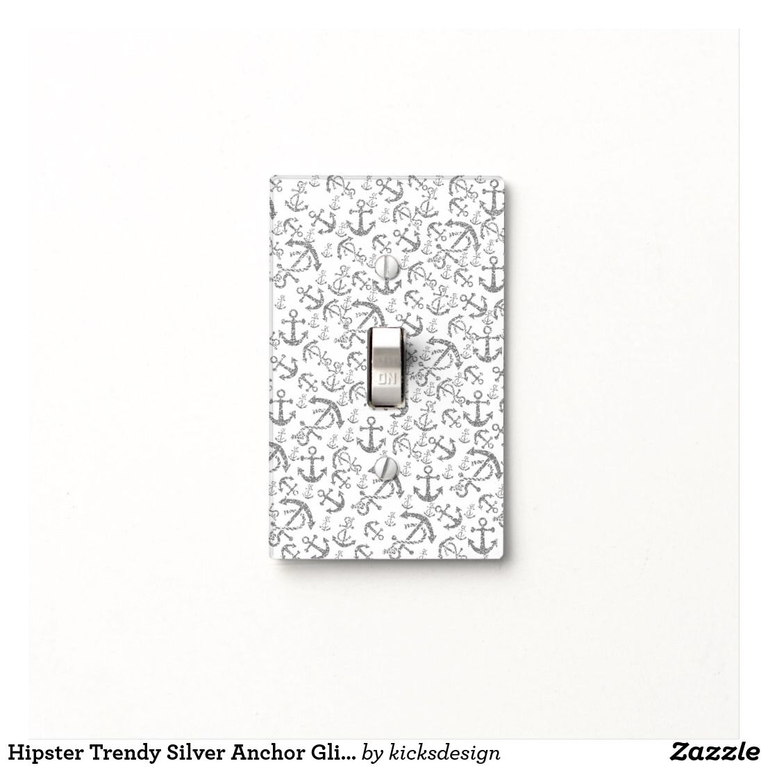 Silver Light Switch Covers Hipster Trendy Silver Anchor Glitter Photo Print Light Switch