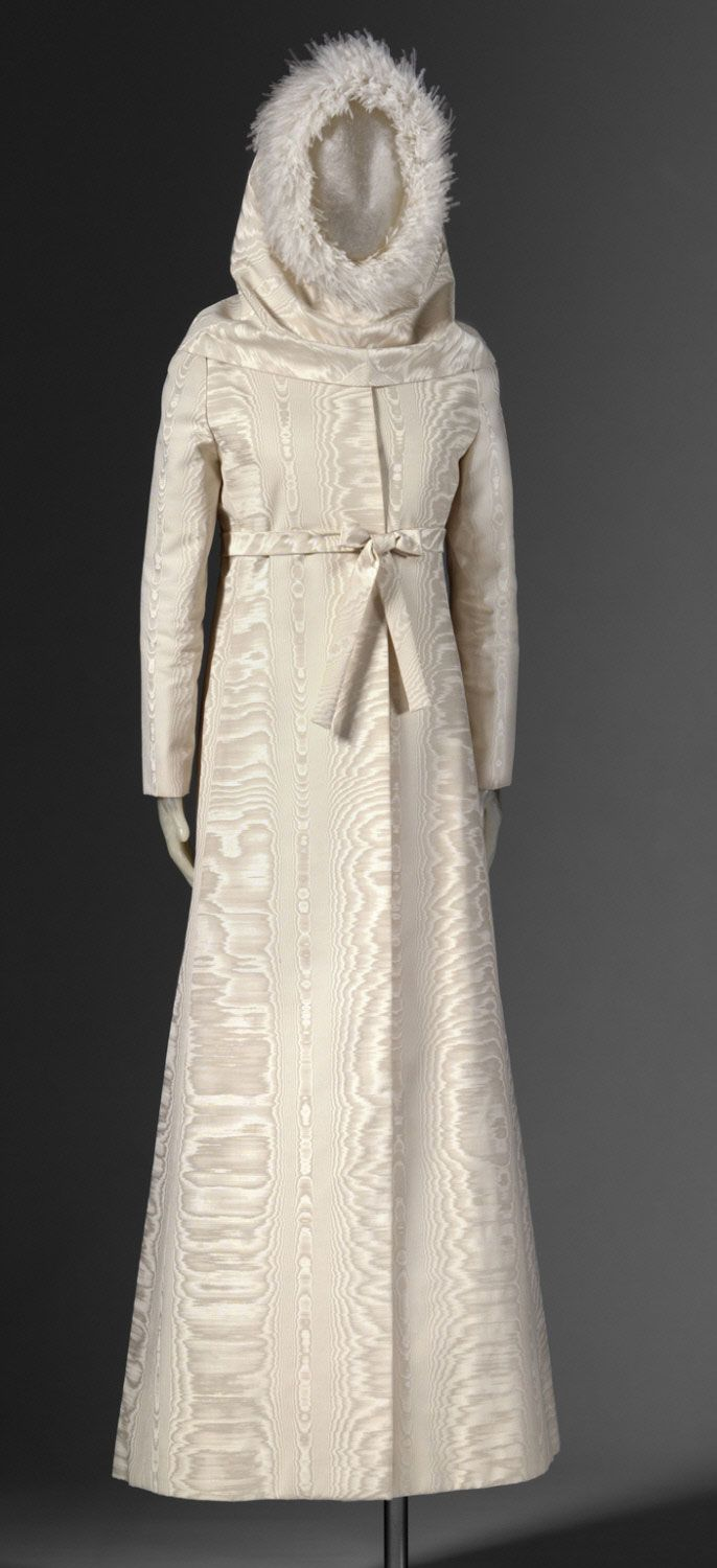 1968, America - Wedding Dress and Hood by Gustave Tassell - Silk and wool moiré, ostrich feathers