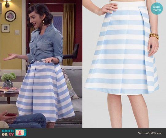 Mandy's blue striped midi skirt on Last Man Standing.  Outfit Details: http://wornontv.net/52589/ #LastManStanding