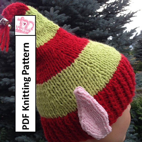 Pdf knitting pattern hat knitting pattern elf ears jingle bells pdf knitting pattern elf ears jingle bells hat by ladyshipdesigns 495 fits head size 20 dt1010fo