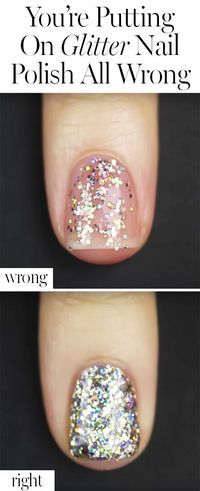 You Re Putting On Glitter Nail Polish All Wrong Glitter Nail