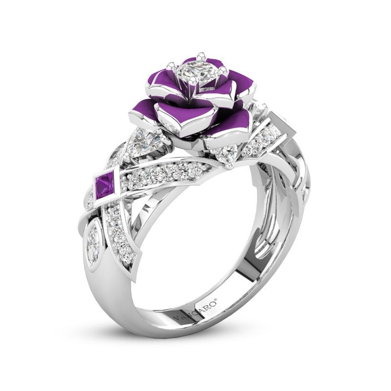 0169fd7a0159f Unique Rose Promise Rings For Her Purple Rose Flower Design in 2019 ...