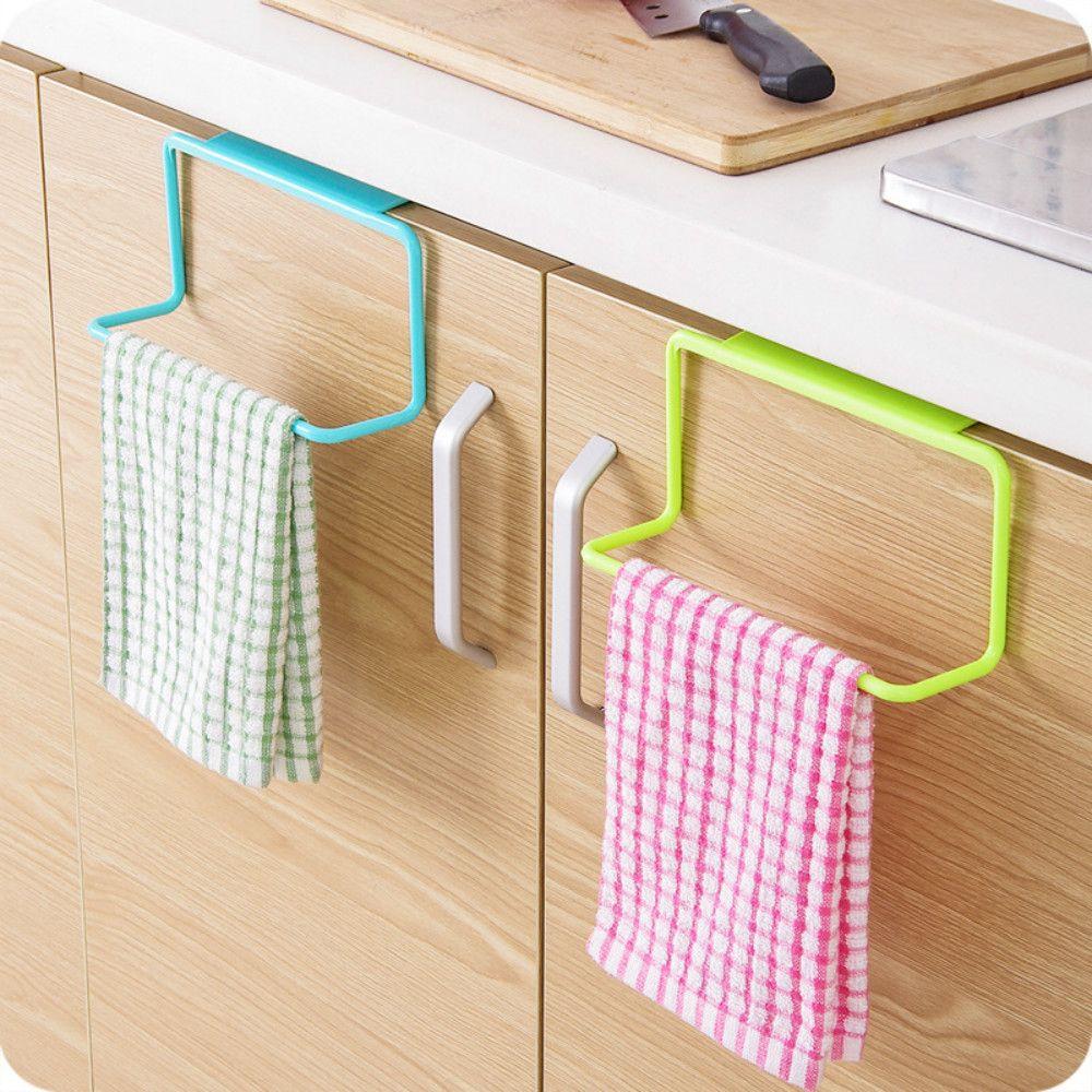 Over Door Tea Towel Rack Bar Hanging Holder Rail Organizer Bathroom Kitchen Cabinet Cup Kitchen Towels Hanging