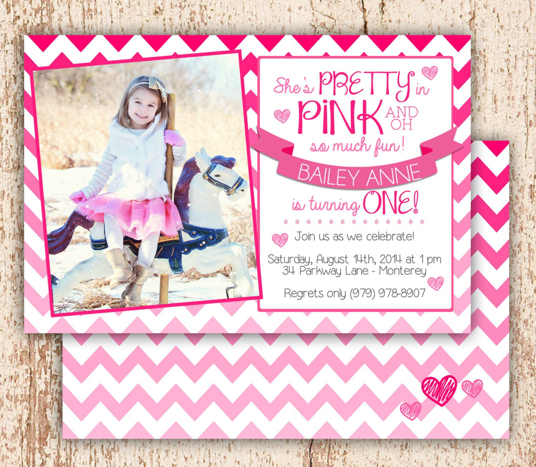 PHOTO Pretty In Pink Birthday Invitation by YankeeBabyDesigns