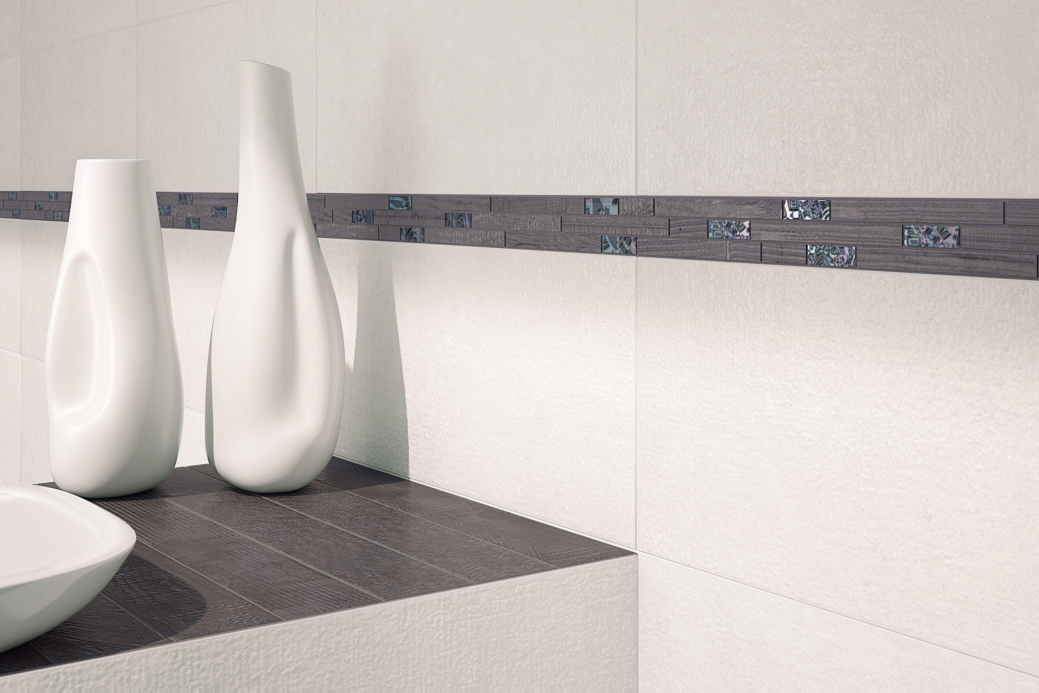 Listel décoratif salle de bain 19x19,19 Piombo, collection Le