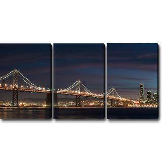 U0027A Night At The San Francisco Bay Bridgeu0027 Canvas Art (Set Of 3