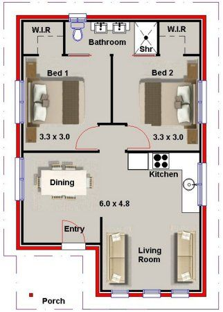 2 Bed Small House Plan Small House Floor Plans Tiny House Floor Plans 2 Bedroom House Plans