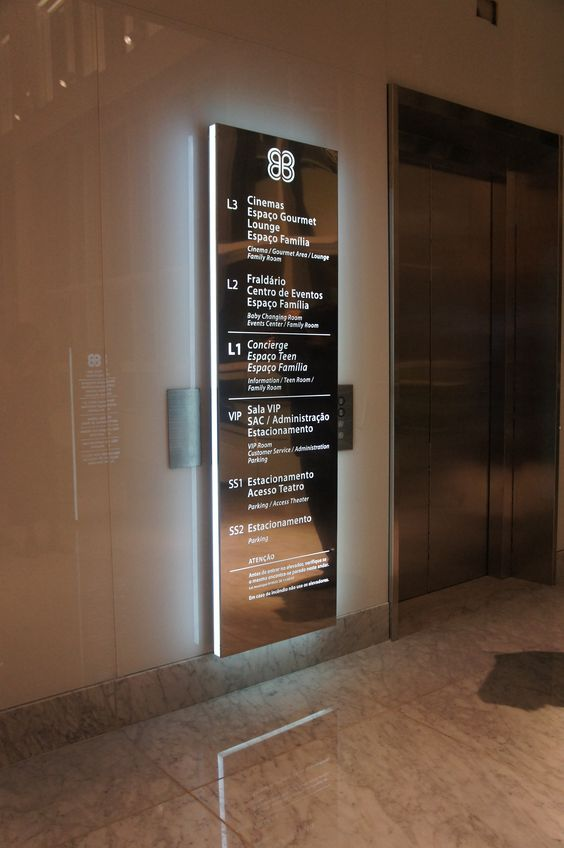 Wayfinding - Elevator sign - Village Mall - Barra da Tijuca (RJ) - Brazil # Brazilian design:
