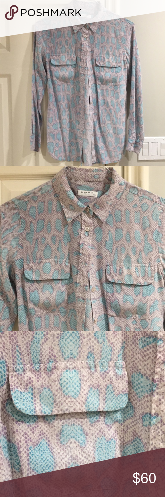 51854cdce035 Equipment silk snake print blouse Hundred percent silk beautiful lights  turquoise and purple blouse. Worn once. Equipment Tops Blouses