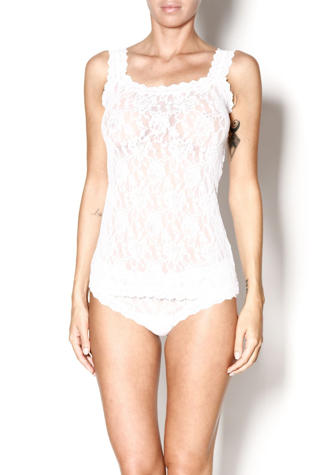"Hanky Panky signature lace tank with crystal ""Bride"" embellishment. Bride Lace Tank by Hanky Panky. Clothing - Lingerie & Sleepwear - Sleepwear New York"