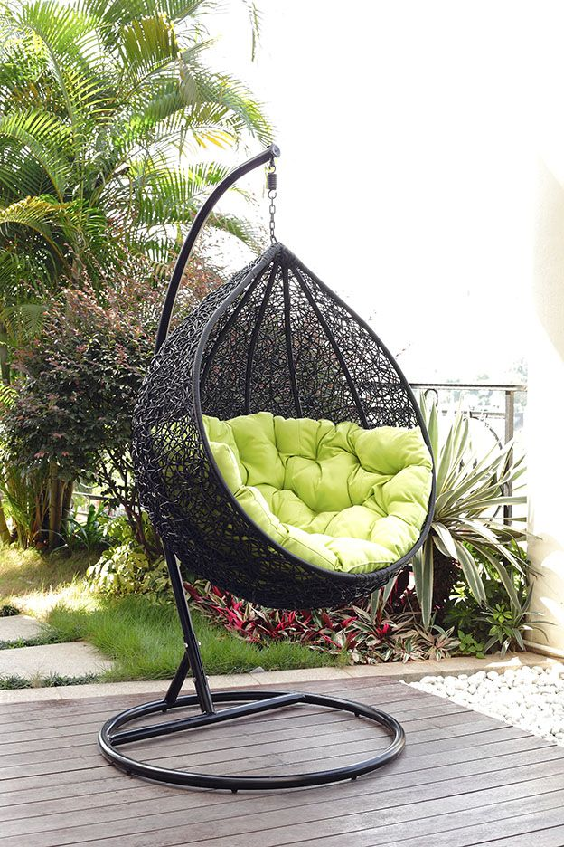 MODERN BOHO Italian Wicker Swing chair exterior Small
