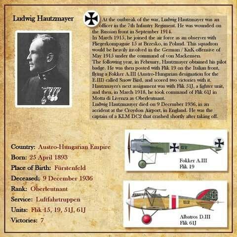 Ludwig Hautzmayer Ww1 Aircraft Ww1 Airplanes Vintage Aviation