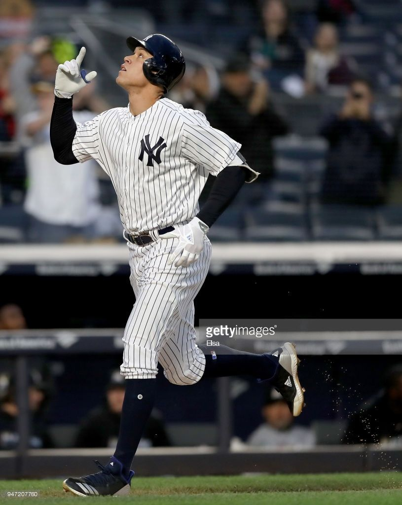 Aaron Judge Of The New York Yankees Celebrates His Solo Home Run In New York Yankees New York Yankees Stadium Yankees