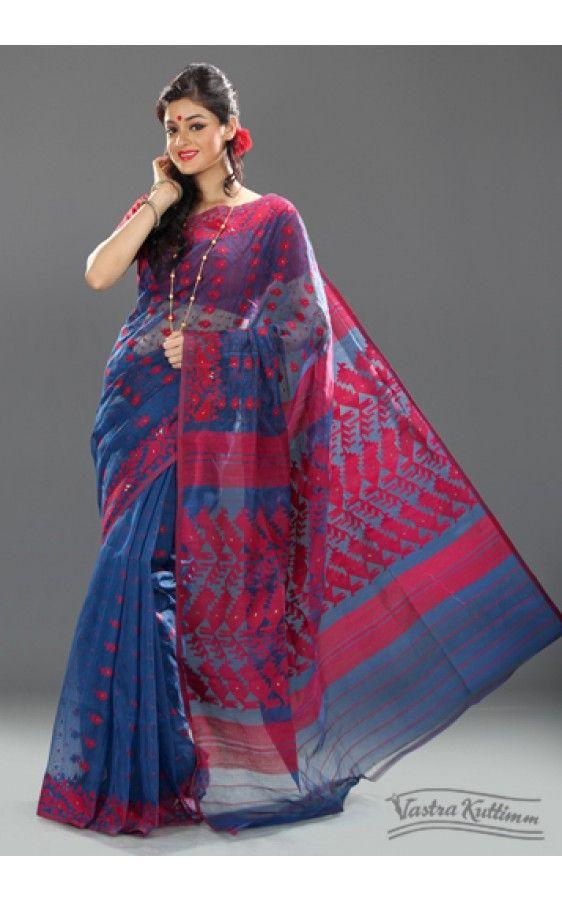 7f07133fac Navy Blue Muslin Dhakai Jaamdani Saree | Sarees Borders n fabrics ...