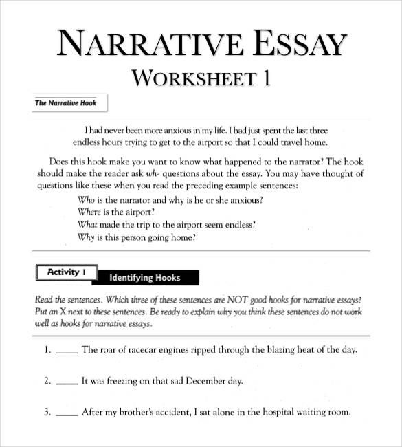 narrative-essay-outline-worksheet-in-pdf | Eclectic: Mentor ...
