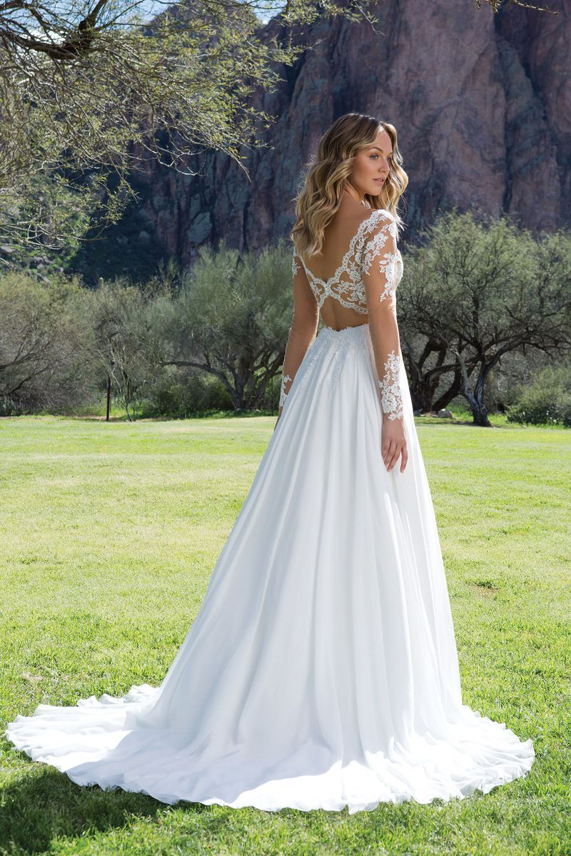 ba14fc312ec3 Sweetheart Gowns - Style 1130  Lace V-Neck Gown with Illusion Sleeves and  Keyhole