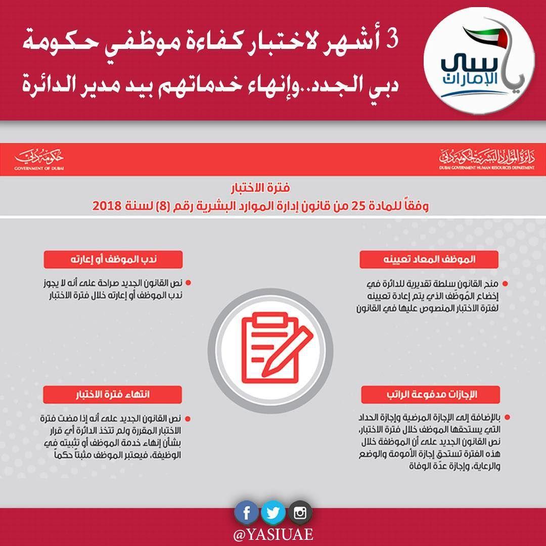 دبي أفادت دائرة الموارد البشرية لحكومة دبي بأن قانون إدارة الموارد البشرية لحكومة دبي الذي سيطبق بدءا من أول يناير المقبل حدد فترة الاختبار للموظف الجدي Calc