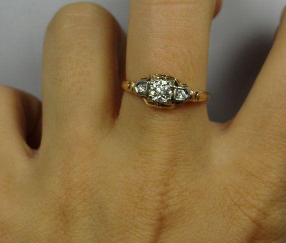 Intricate Geometric Two Tone 1940s Vintage Diamond by MSJewelers, $1245.00
