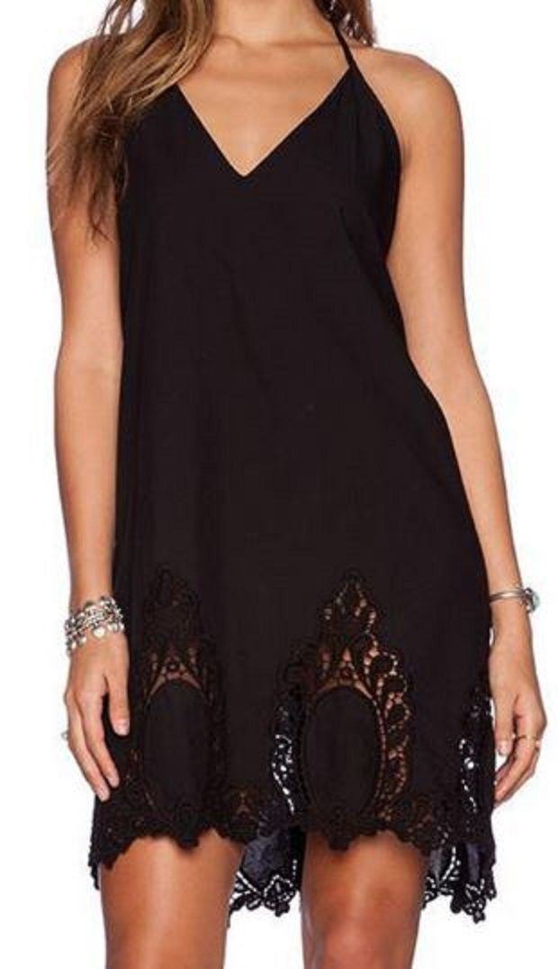 Love Love Love this LBD! Love the Lace Border! Love the Back Design! Sexy Black Hollow Out Backless Spaghetti Strap Dress #Sexy #Summer #LBD #Black #Lace #Dress #Fashion