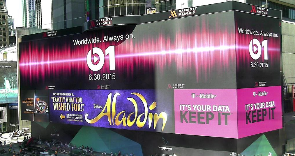 Apple Debuts Massive Beats 1 Advertisement In Times Square Ahead Of June 30 Launch Times Square Apple Promotional Image