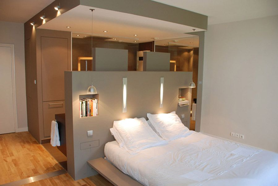 Pin by germaine tan on home design bedroom t te de lit dressing salle de bains dressing - Dressing dans salle de bain ...