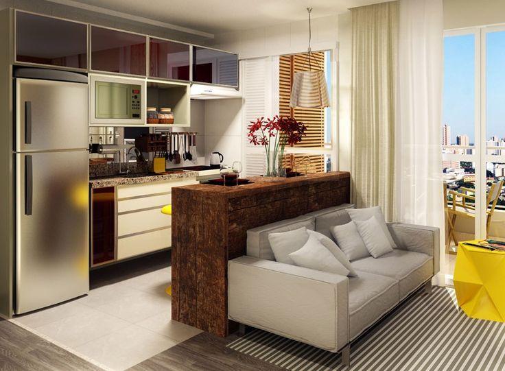 Sala de Estar Pequena integrada à cozinha americana armarios da
