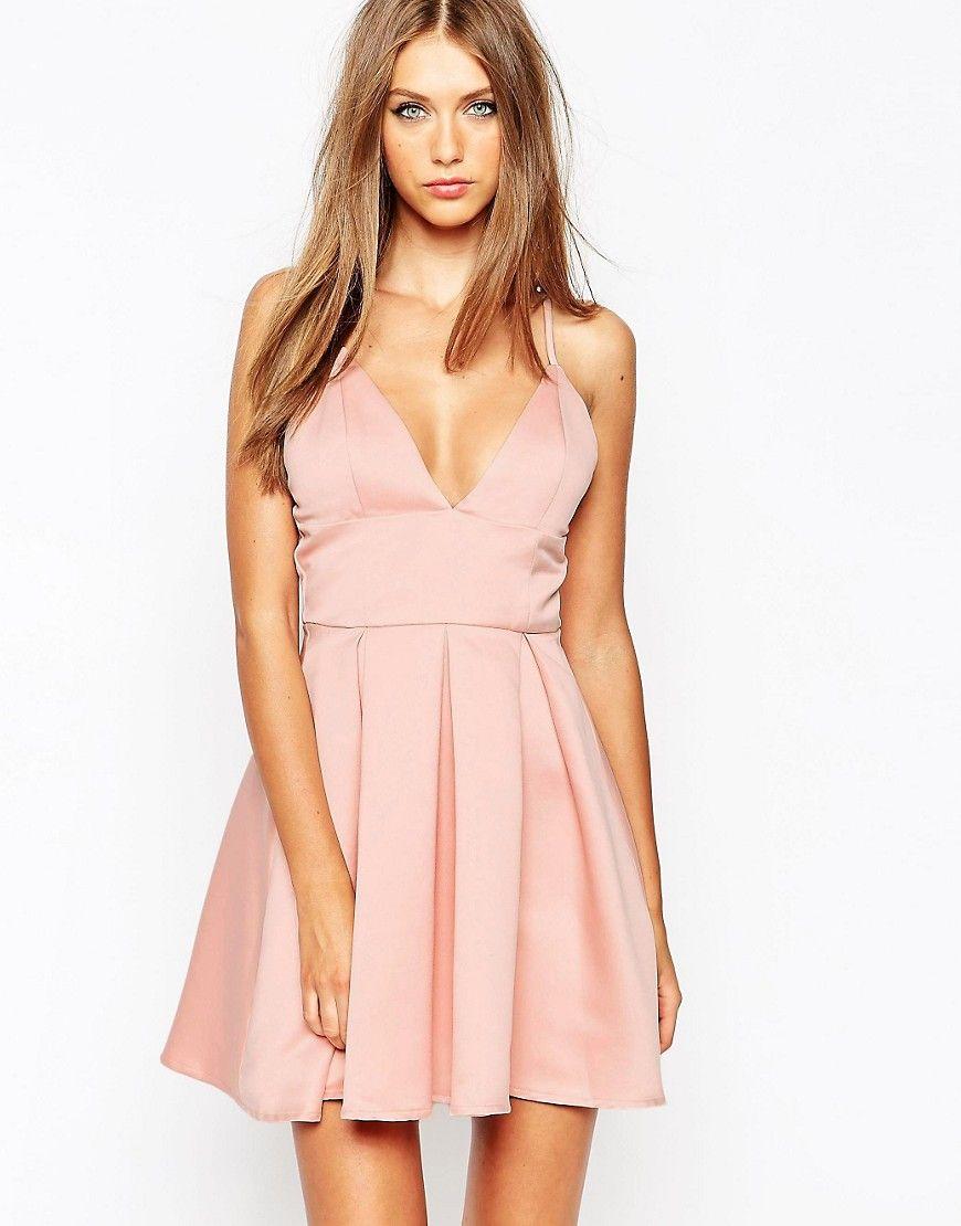 Missguided Satin Plunge Skater Dress - Baby pink satin  9ba292a07