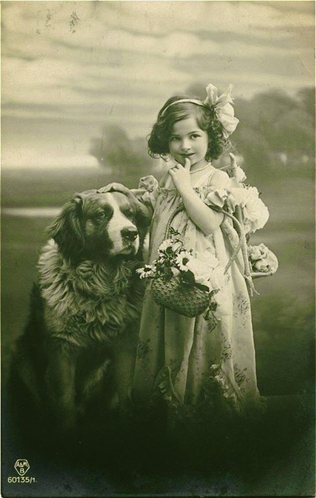 Vintage Portraits of Girls with Their Dogs